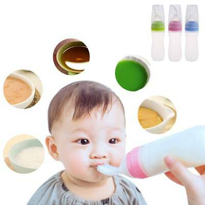 120ml Baby Silicone Squeeze Feeding Bottle With Spoon Food Rice Cereal Feeder