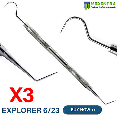 Deal of 3 Explorer Probe #6 Single Ended Dentists Pick Scalers Tooth Scraper Lab