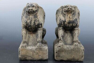 Fine Beautiful Pair Chinese Rare Stone Carved Foo Dogs Statues