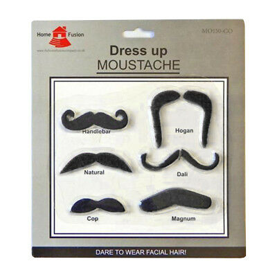 6 x Assorted Dressing Up Fancy Dress Fake Moustache Stag Party Self Adhesive