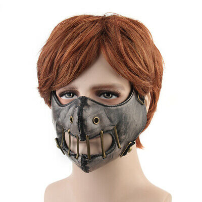 Uomo Donna Punk Cosplay PU Leather Mask Gothic Steampunk Motorcycle Hip Hop