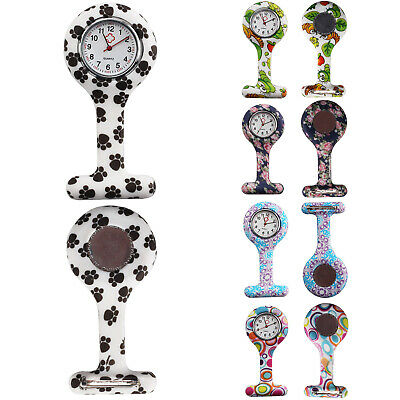 New nurse silicone watches brooch style fob watch with flower  print UK