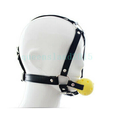 Head Harness PU Leather Strap Open Mouth Gag Ball Fetish Slave Restraint Toy