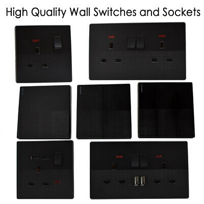 Switch & Socket Textured Black  Light switches, with / without USB Plug Sockets