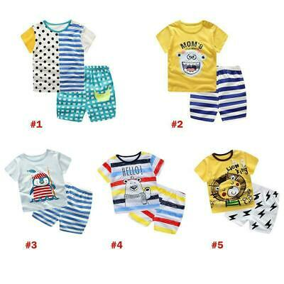 Toddler Boys Girls Kids Summer Clothes Printed T-shirt Shorts Pants Outfits Set