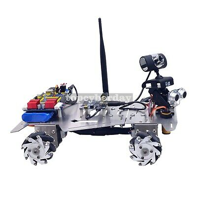 NEW 4WD Smart Robot Car Kit Camera 60mm Mecanum Wheels Unfinished WiFi+Bluetooth