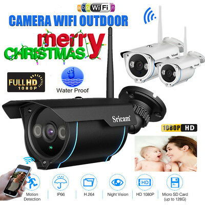 WiFi Wireless 1080P 2MP CCTV IP Camera IP66 Home Security Cam PIR IR-Cut SD card