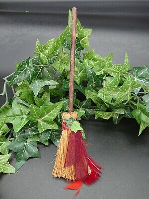 Witches Mini broom Besom Altar spell supplies Pagan Witchcraft red freather