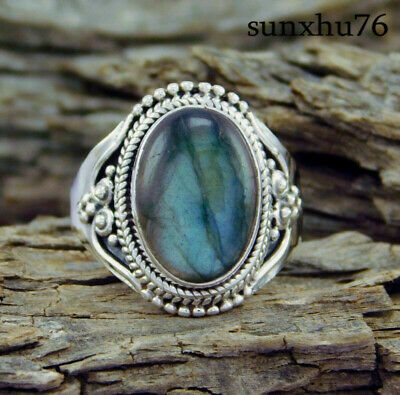 Natural Moonstone 925 Silver Ring Men Women Jewelry Gemstone Wedding Size 5-10