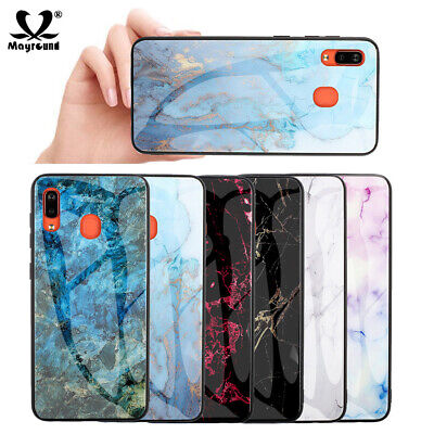 Luxury Marble Tempered Glass Case Cover For Samsung Galaxy A50 M30 A6 Plus 2018