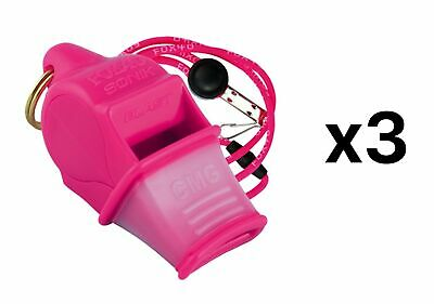 Fox 40 Sonik Blast CMG 2-Chamber Pealess Whistle with Lanyard, Pink (3-Pack)