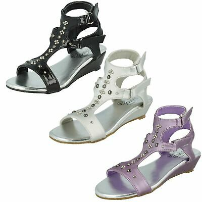 Girls Spot On Twin Strap Wedge Sandals 'H1R010'