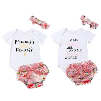 bc7ab6e20 3PCS Newborn Baby Girl Clothes Short Sleeve Tops Romper+Shorts Dress Outfit  Set