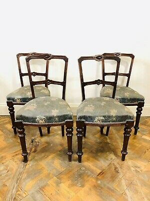 Set of Four Victorian Walnut Dining Chairs - Delivery Available