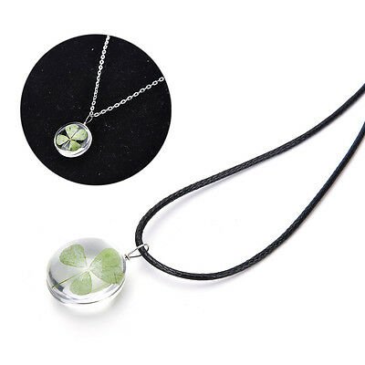 Real Green Lucky Shamrock Four Leaf Clover Round Pendant Necklace Friend  TPD