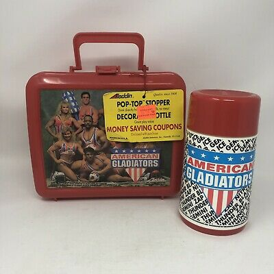 American Gladiators Lunchbox & Thermos New Tags 1992 Unused Aladdin Lunch Box