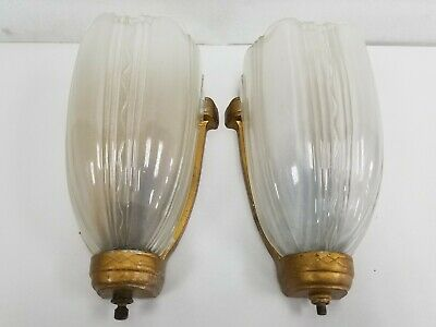 Vtg Pair Art Deco Slip Shade Wall Sconce Light Fixture Frame Theater Sign Virden