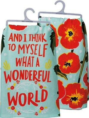 Set of 2 WHAT A WONDERFUL WORLD Red Poppies Tea Towels, Primitives by Kathy