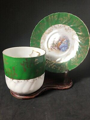 Victorian Mustache Cup & Saucer White With Green Band, Gold & Musician Scene 1EE