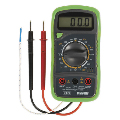 Sealey MM20HV : 8 Function LCD Digital Mulitmeter with Thermocouple AC DC - NEW