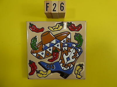 "Ceramic Art Tile 6""x6"" Western boot sombrero colorful chili kitchen trivet F26"