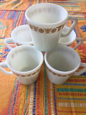 Vintage Pyrex Gold Butterfly 1410 Mugs Cups Milk Glass Set Of 5