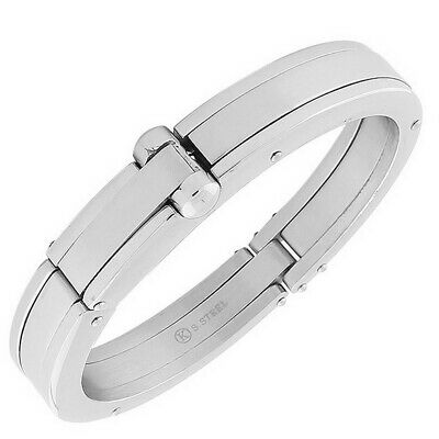 Stainless Steel Silver-Tone Handcuff Mens Bracelet with Clasp
