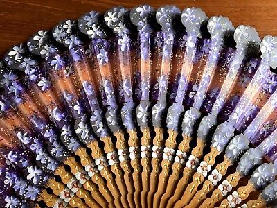 Antique Ornate Shaped Wooden Hand Painted Sequins Floral VIOLETS Fan