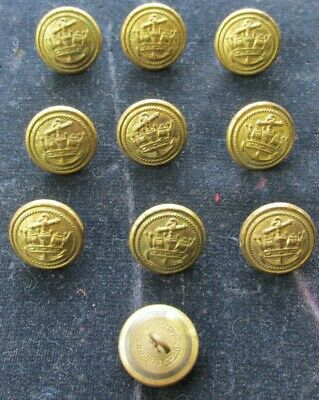 PAIR OF OLD Vintage Brass Navy Naval Military Buttons
