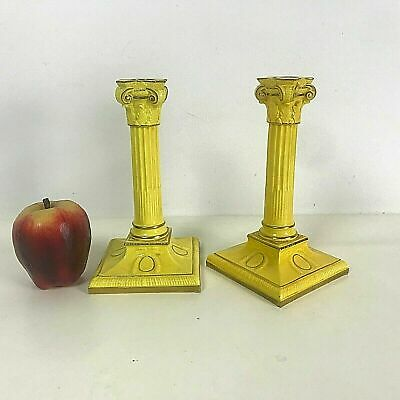 Pair of 19th C English Porcelain Royal Worcester Candlesticks in Yellow