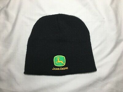 dc4982e11805cb John Deere Hat Beanie Skull Cap Black Green Tractor Farmer Hat Cold Winter