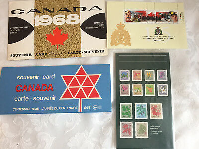 Collection of Canadian Souvenir Stamps Wildflowers 1967 Mounties Coat of Arms
