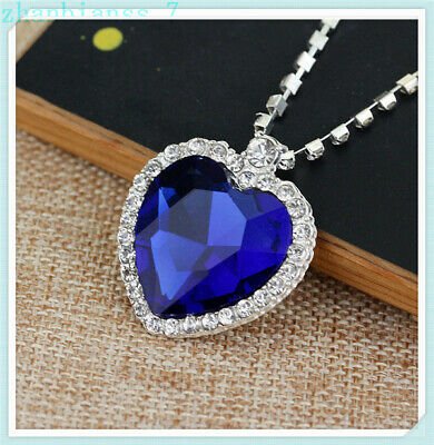 TITANIC Movie Heart of The Ocean Sapphire Blue CZ Crystal Silver Plated Necklace