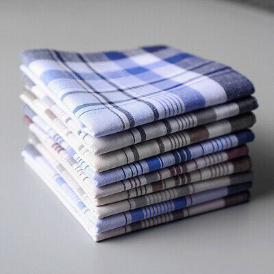5Pcs Mens Square Plaid Stripe Handkerchiefs Hanky Pocket Cotton Towel 38*38cm