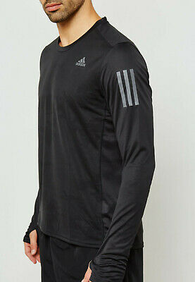 NEW Adidas Response Running Tee Black ClimaCool Regular Fit Long Sleeve NEW