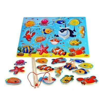 Kids Magnetic Fishing Game Set 3D Jigsaw Puzzle Board Wooden Educational Toy UK