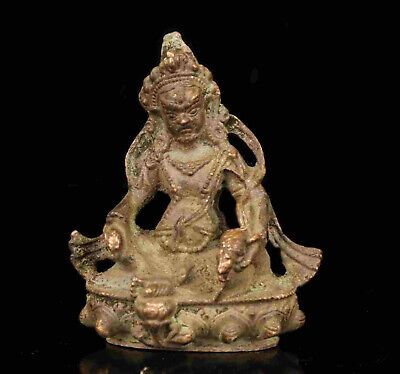 Chinese Old Hand-Carved Collect Old Bronze Spiritual Tibetan Buddha Statue