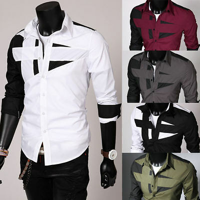 UK Luxury Shirts Mens Slim Fit Shirt Long Sleeve Formal Dress Casual Blouse Tops