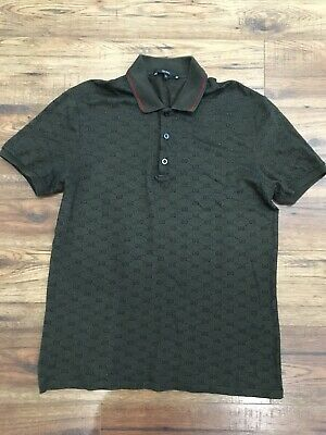 16a02650 GUCCI POLO T Shirt XL Genuine Black Red And Green Striped Collar ...