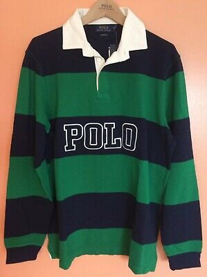256e0b48e Polo Ralph Lauren Vintage 90's Striped Iconic Rugby Shirt L Stadium P-wing  92