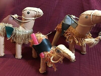 Leather...VINTAGE hand crafted CAMELS...set of 3...GOTTA SEE THESE!!!
