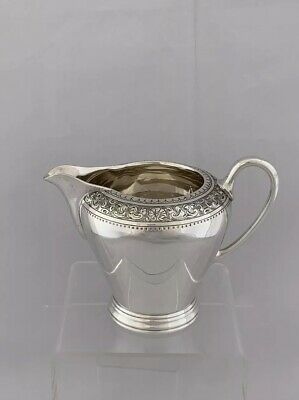 GEORGE V Solid Silver Milk Jug 1927 London BARNARDS Flat Chased Engraving