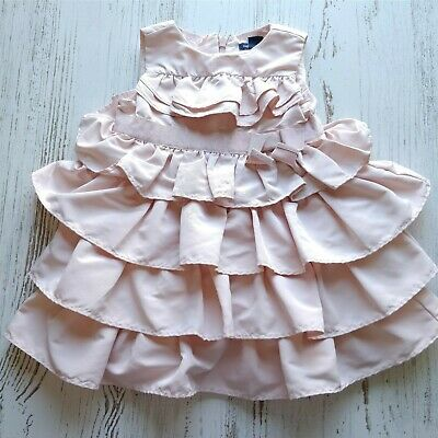Gap Baby Girl 12-18 months Pink Ruffled Sleeveless Tiered Bow Special Ocassion