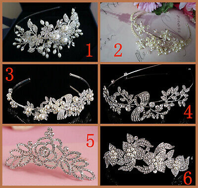Bridal tiara hair accessories hand beaded wired pearl crystal beads job lots