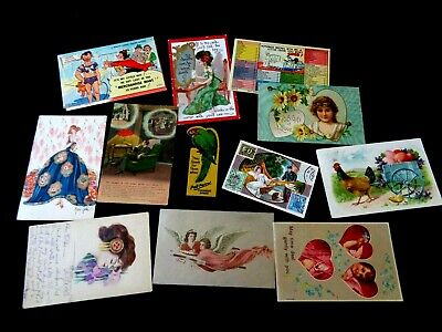 Vintage Estate Paper Lot - Postcard Trade Card Byzantine Art Nouveau Girl Etc