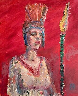 Red Athena Greek Mythology Contemporary Palette Knife Abstract Painting Wall Art