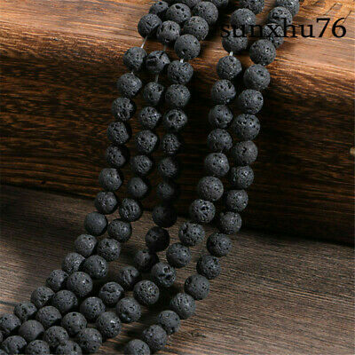 "4-14MM Natural Stone Round Black Volcanic Lava Rock Stone Beads 15"" Gift"