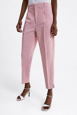 181714c6 Zara New Ss19 Gingham Trousers Pink / White Sizes Xs S M L Xl Ref. 2128/