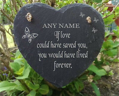 Slate Stone Heart Engraved Memorial Plaque Rememberance Any Name Marker Style 5
