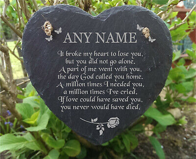 Slate Stone Heart Engraved Memorial Plaque Rememberance Any Name Marker Style 6